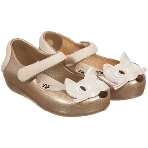 Mini Melissa | Gold Sparkly Cat Mary Jane Shoes